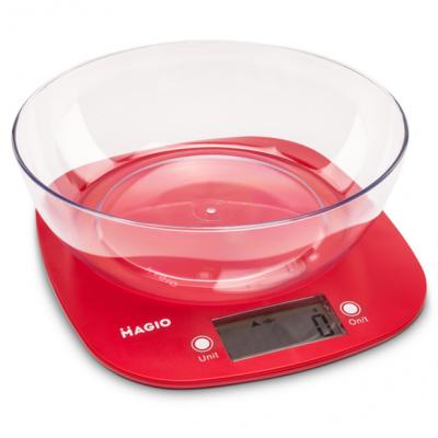 "Весы кухонные 5 кг электронные пласт. ж/к дисплей (красные)+чаша ""MAGIO"" MG-290"