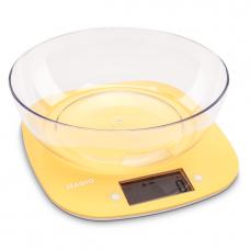 "Весы кухонные 5 кг электронные пласт. ж/к дисплей (желтые)+чаша ""MAGIO"" MG-290"