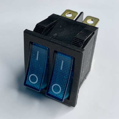 "Переключатель LSW04 двойной синий с подсветкой ""LEMANSO"" KCD2-2101N"