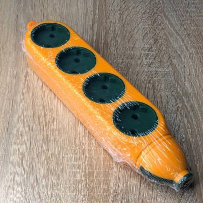 "Колодка 4+4 гнезда б/з Апельсин 10A/250V гнезда 2-х сторон макс 2500W оранжевый ""LEMANSO"" LMK75008"