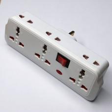"""Переходник - адаптер с индикатором, кнопкой, 3+3 гнезда """"LEMANSO"""" LMA7308"""