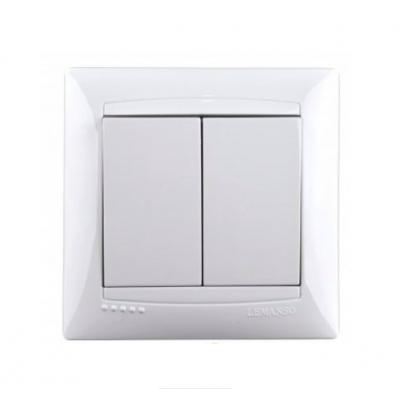"""Выключатель 2-кл. внутренний белый """"LEMANSO Сакура"""" LMR1005"""