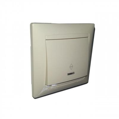"""Выключатель 1-кл. проходной с LED подсветкой внутренний крем """"LEMANSO Сакура"""" LMR1103"""