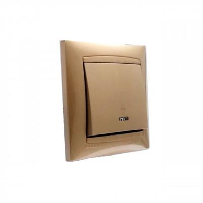 """Выключатель 1-кл. проходной с LED подсветкой внутренний золото """"LEMANSO Сакура"""" LMR1203"""