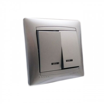 "Выключатель 2-кл. с LED подсветкой внутренний серебро ""LEMANSO Сакура"" LMR1307"