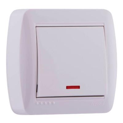 Выключатель 1-кл. наружный с подсветкой белый LEZARD Demet 711-0200-111