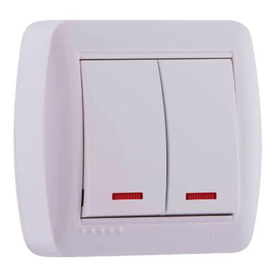 Выключатель 2-кл. наружный с подсветкой белый LEZARD Demet 711-0200-112