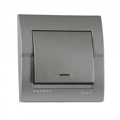 Выключатель 1-кл. внутренний с подсветкой темно-серый металлик LEZARD Deriy 702-2929-111