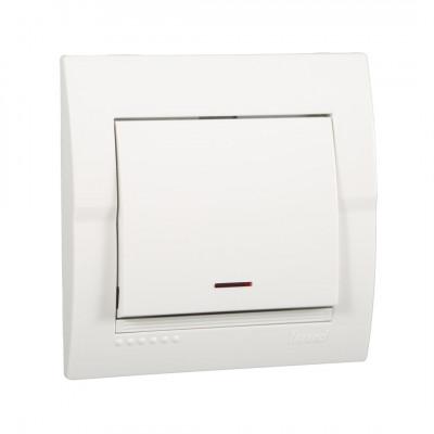 Выключатель 1-кл. внутренний с подсветкой белый LEZARD Deriy 702-0202-111