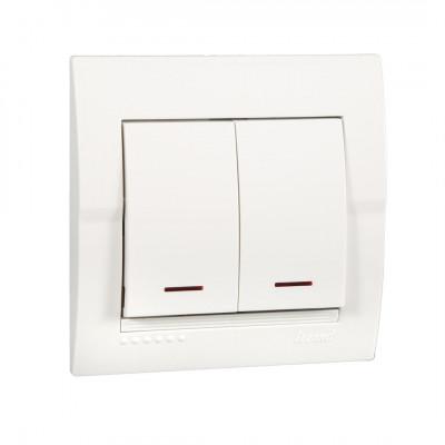 Выключатель 2-кл. внутренний с подсветкой белый LEZARD Deriy 702-0202-112