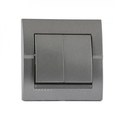 Выключатель 2-кл. внутренний темно-серый металлик LEZARD Deriy 702-2929-101
