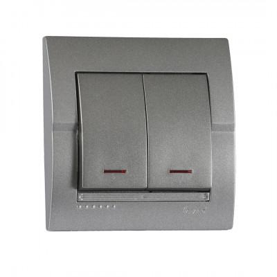 Выключатель 2-кл. внутренний с подсветкой темно-серый металлик LEZARD Deriy 702-2929-112