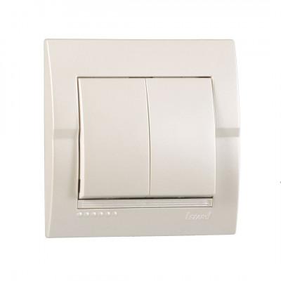 Выключатель 2-кл. внутренний жемчужно-белый металлик LEZARD Deriy 702-3030-101