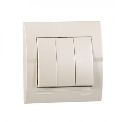 Выключатель 3-кл. внутренний жемчужно-белый металлик LEZARD Deriy 702-3030-109