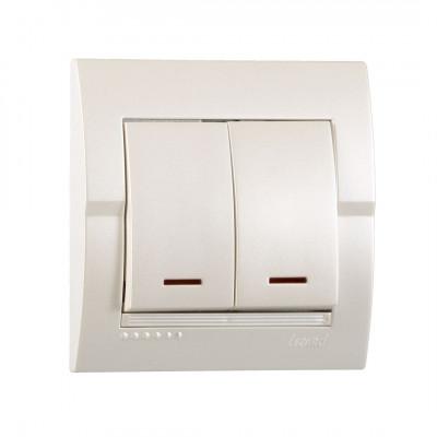Выключатель 2-кл. внутренний с подсветкой жемчужно-белый металлик LEZARD Deriy 702-3030-112