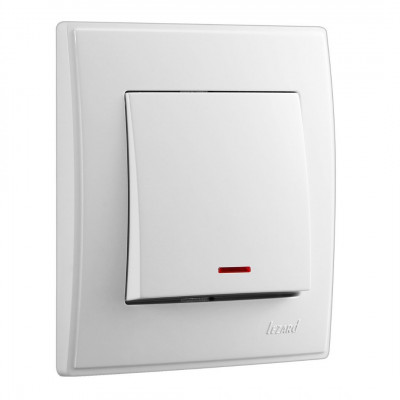 Выключатель 1-кл. внутренний с подсветкой  белый LEZARD Lesya 705-0202-111