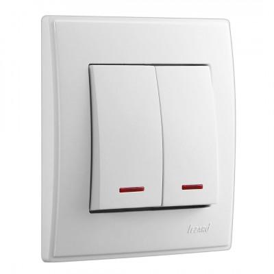 Выключатель 2-кл. внутренний с подсветкой белый LEZARD Lesya 705-0202-112