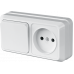 """Блок наружный выключатель 1-кл. + розетка б/з  """"LIDER Legend"""" LVR10-760"""