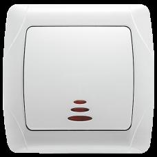 """Выключатель 1-кл. с подсветкой внутренний белый """"Q-MAX Стандарт"""" 511"""