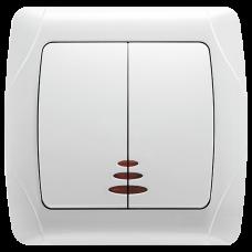 """Выключатель 2-кл. с подсветкой внутренний белый """"Q-MAX Стандарт"""" 512"""