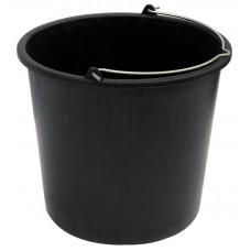 Ведро строительное черное с металлической ручкой 12 литров №25