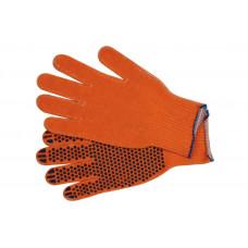 Перчатки вязанные с ПВХ точкой х/б оранжевые (12шт.)