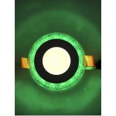 "LED панель ""Бульбашки"" 3+3W с зелёной подсветкой 350Lm 4500K 175-265V ""LEMANSO"" LM906 круг"