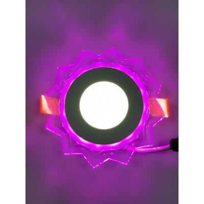 """LED панель """"Солнышко"""" 3+3W с розовой подсветкой 320Lm 4500K 175-265V """"LEMANSO"""" LM907 круг"""