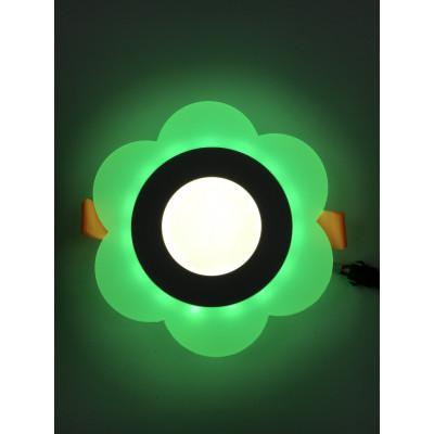 "LED панель ""Молочная ромашка"" 3+3W с зелёной подсветкой 320Lm 4500K 175-265V ""LEMANSO"" LM908 круг"