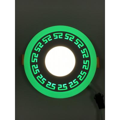 """LED панель """"Грек"""" 3+3W с зелёной подсветкой 350Lm 4500K 85-265V круг """"LEMANSO"""" LM533"""