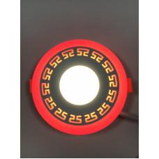 "LED панель ""Грек"" 3+3W с красной подсветкой 350Lm 4500K 85-265V круг ""LEMANSO"" LM533"