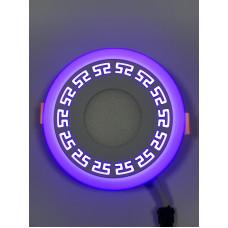 """LED панель """"Грек"""" 3+3W с синей подсветкой 350Lm 4500K 85-265V круг """"LEMANSO"""" LM533"""