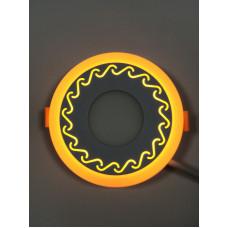 "LED панель ""Завитки"" 3+3W с жёлтой подсветкой 350Lm 4500K 85-265V круг ""LEMANSO"" LM534"