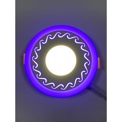 """LED панель """"Завитки"""" 3+3W с синей подсветкой 350Lm 4500K 85-265V круг """"LEMANSO"""" LM534"""