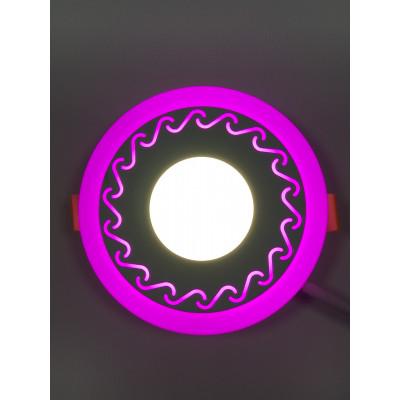 "LED панель ""Завитки"" 3+3W с розовой подсветкой 350Lm 4500K 85-265V круг ""LEMANSO"" LM534"