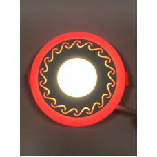 "LED панель ""Завитки"" 3+3W с красной подсветкой 350Lm 4500K 85-265V круг ""LEMANSO"" LM534"