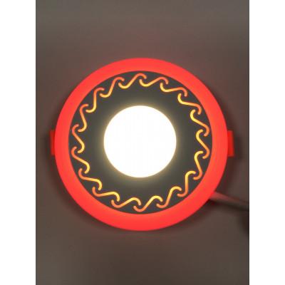 "LED панель ""Завитки"" 6+3W с красной подсветкой 540Lm 4500K 85-265V круг ""LEMANSO"" LM539"