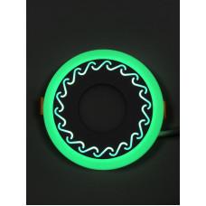"LED панель ""Завитки"" 3+3W с зелёной подсветкой 350Lm 4500K 85-265V круг ""LEMANSO"" LM534"