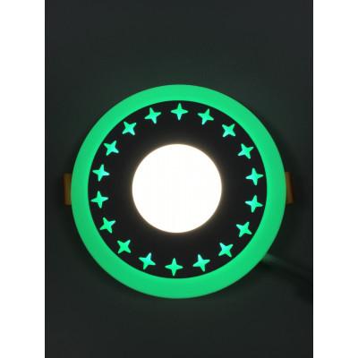 """LED панель """"Звезды"""" 3+3W с зелёной подсветкой 350Lm 4500K 85-265V круг """"LEMANSO"""" LM535"""