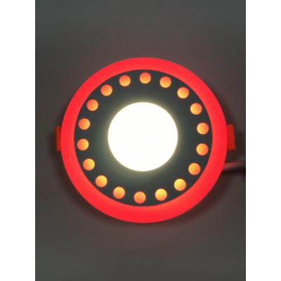 """LED панель """"Точечки"""" 3+3W с красной подсветкой 350Lm 4500K 85-265V круг """"LEMANSO"""" LM537"""