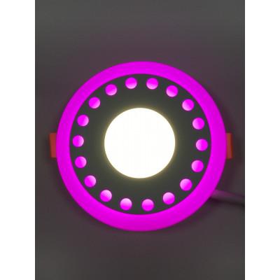 """LED панель """"Точечки"""" 3+3W с розовой подсветкой 350Lm 4500K 85-265V круг """"LEMANSO"""" LM537"""