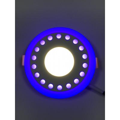 """LED панель """"Точечки"""" 18+6W с синей подсветкой 1440Lm 4500K 85-265V круг """"LEMANSO"""" LM557"""