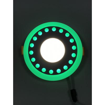 "LED панель ""Точечки"" 3+3W с зелёной подсветкой 350Lm 4500K 85-265V круг ""LEMANSO"" LM537"