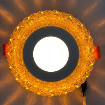 """LED панель """"Вулкан"""" 3+3W с жёлтой подсветкой 350Lm 4500K 175-265V круг """"LEMANSO"""" LM1006"""