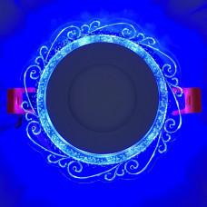 """LED панель """"Волна"""" 3+3W с синей подсветкой 350Lm 4500K 175-265V круг """"LEMANSO"""" LM1016"""
