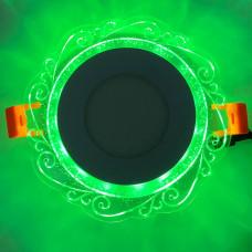 "LED панель ""Волна"" 3+3W с зелёной подсветкой 350Lm 4500K 175-265V круг ""LEMANSO"" LM1016"