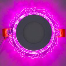"""LED панель """"Волна"""" 3+3W с розовой подсветкой 350Lm 4500K 175-265V круг """"LEMANSO"""" LM1016"""