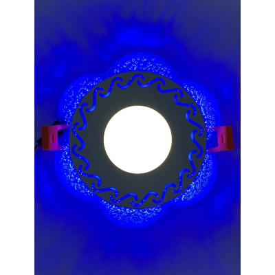 """LED панель """"Тень"""" 3+3W с синей подсветкой 350Lm 4500K 175-265V круг """"LEMANSO"""" LM1017"""