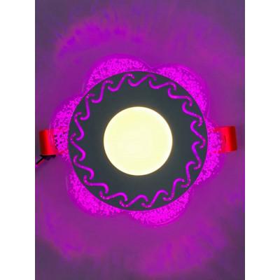 "LED панель ""Тень"" 3+3W с розовой подсветкой 350Lm 4500K 175-265V круг ""LEMANSO"" LM1017"