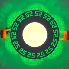 """LED панель """"Афины"""" 3+3W с зелёной подсветкой 350Lm 4500K 175-265V круг """"LEMANSO"""" LM1018"""